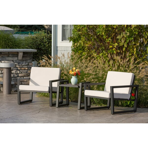 Waubun 3 Piece Sunbrella 2 Person Seating Group with Sunbrella Cushions by Brayden Studio
