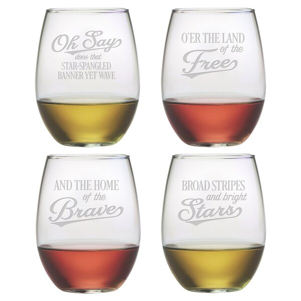 Star Spangled Stemless Wine Glass (Set of 4) by Susquehanna Glass