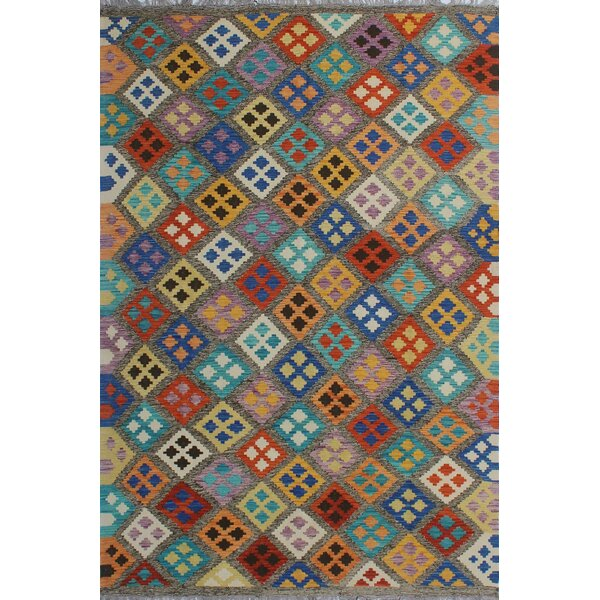 Corda Hand-Knotted Wool Blue/Gray Area Rug by Bungalow Rose