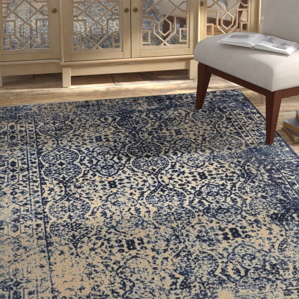 Freetown Modern Distressed Vintage Inspired Navy/Beige Area Rug by Bungalow Rose