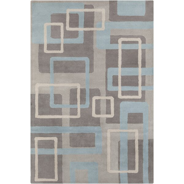 Saxon Hand Tufted Wool Gray/Blue Area Rug by Latitude Run