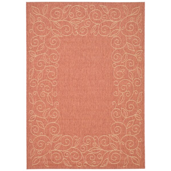 Laurel Terracotta/Beige Indoor/Outdoor Area Rug by August Grove