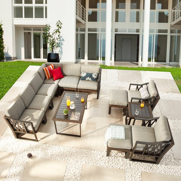 Mannion Patio 12 PieceRattan Sofa Seating Group with Cushions