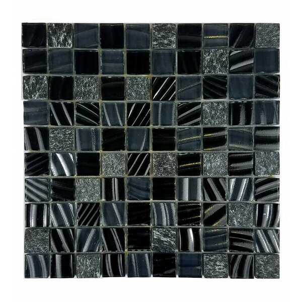 New Era II 1.25 x 1.25 Glass Mosaic Tile in Black Hole by Abolos