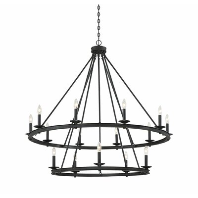 Poynor 15 - Light Candle Style Wagon Wheel Chandelier Three Posts Finish: Classic Bronze