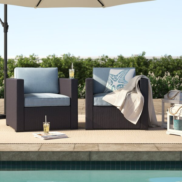 Seaton 2 Person Outdoor Wicker Chair with Cushions (Set of 2) by Sol 72 Outdoor