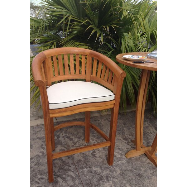 Meyer Teak Patio Dining Chair With Cushion By Bay Isle Home