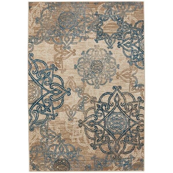 Curtice Ecru/Blue Indoor/Outdoor Area Rug by Bloomsbury Market
