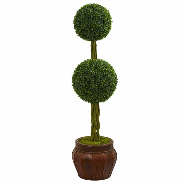 Double Artificial Floor Boxwood Topiary in Planter by Bloomsbury Market