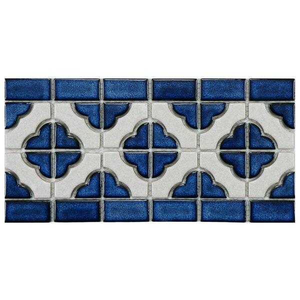 Castle 5.75 x 11.75 Porcelain Mosaic Tile in White/Cobalt by EliteTile