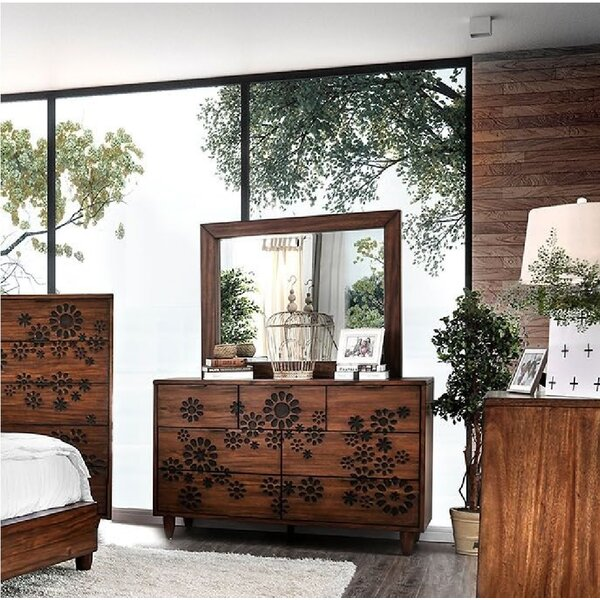 Sergei 7 Drawer Double Dresser with Mirror by Bungalow Rose Bungalow Rose