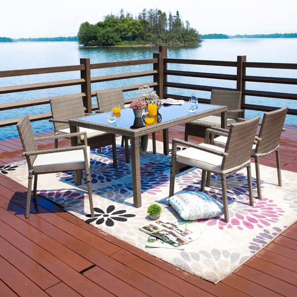 Moxley 7 Piece Dining Set with Cushions Bayou Breeze BBZE4937