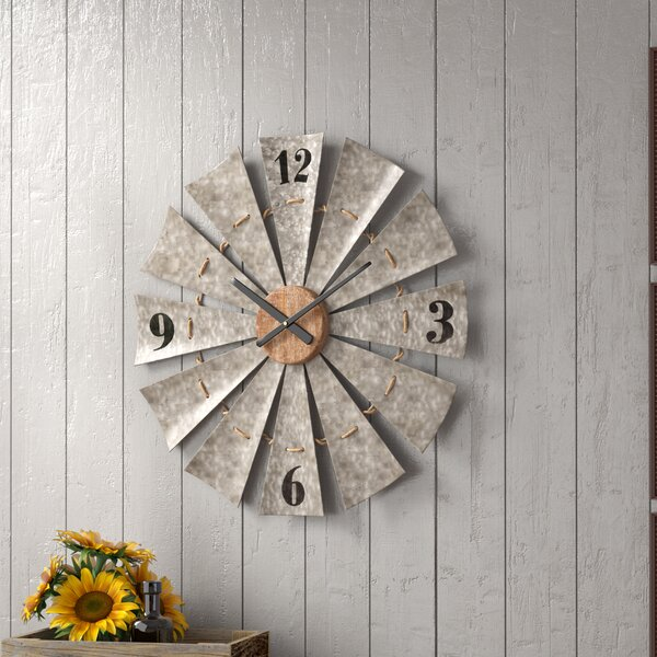 Le Oversized Vintage Windmill 28.5 Wall Clock by Gracie Oaks