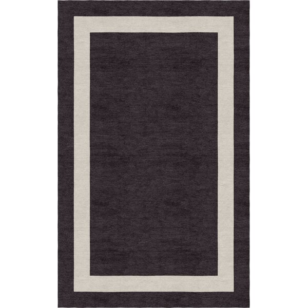 Dews Border Hand-Tufted Wool Silver/Charcoal Area Rug by Red Barrel Studio
