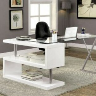 Lindel Glass L-Shape Desk