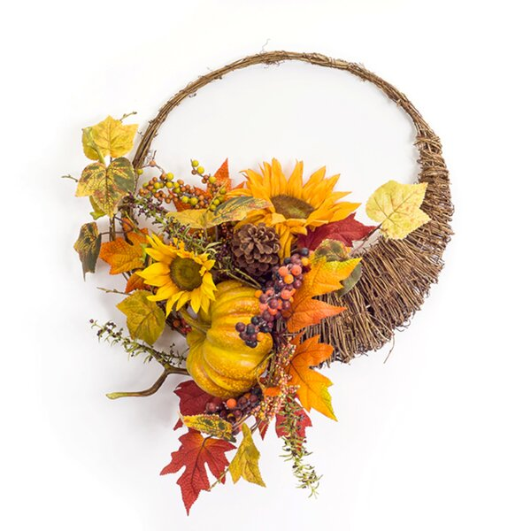 Sunflower/Gourd Cornucopia 15.5 Foam Wreath by The Holiday Aisle