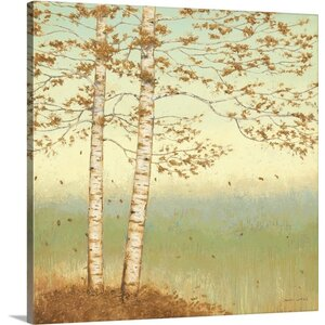 'Golden Birch I with Blue Sky' by James Wiens Painting Print on Wrapped Canvas by Great Big Canvas