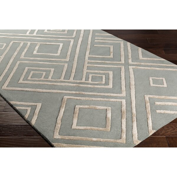 Vazquez Hand-Tufted Rectangle Green/Neutral Area Rug by Wrought Studio
