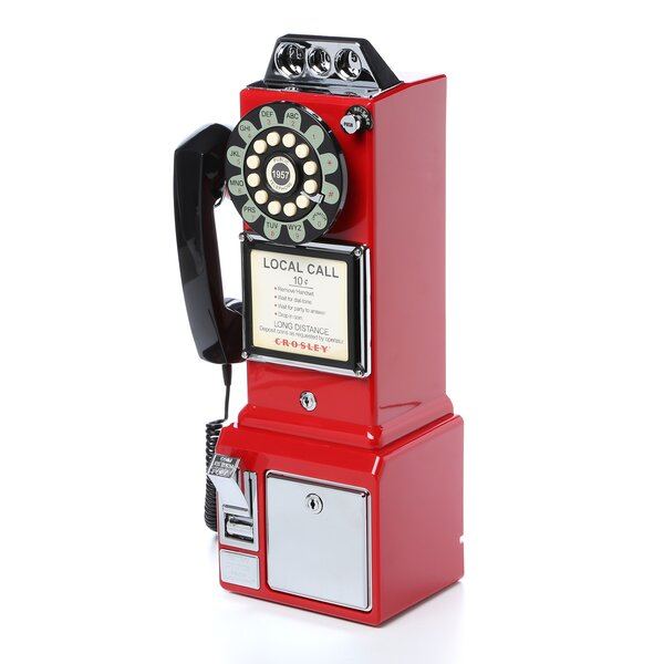 1950 S Classic Red Pay Phone By Crosley.