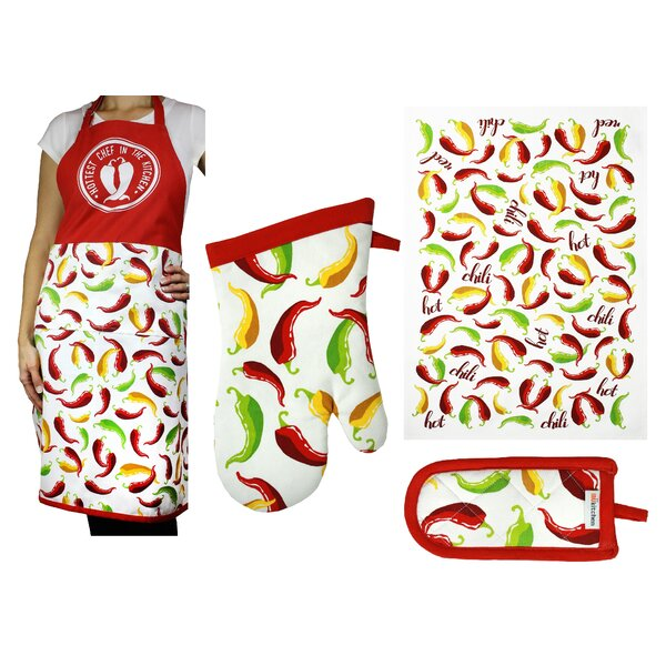 Chili Peppers Designers Print 4 Piece Apron Set by Red Barrel Studio