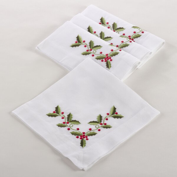 Holiday Holly Embroidered Napkin (Set of 4) by The Holiday Aisle