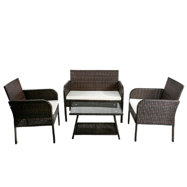 Evera 4 Piece Rattan Sofa Seating Group with Cushions by Ebern Designs