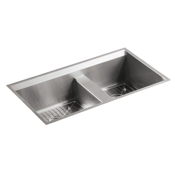 8 Degree 33 L x 18 W x 10-3/16 Under-Mount Large/Medium Double-Bowl Kitchen Sink by Kohler