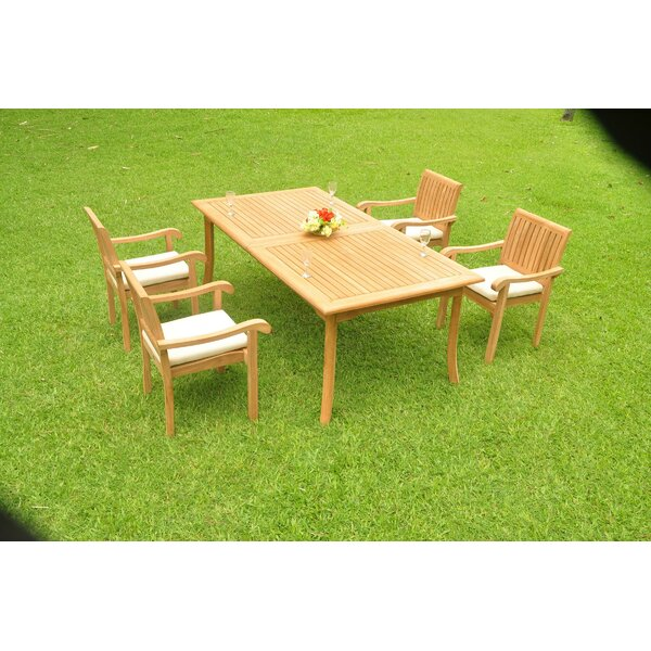 Oey Luxurious 5 Piece Teak Dining Set by Rosecliff Heights