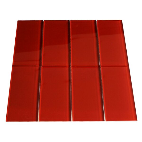 Fire 3 x 6 Glass Mosaic Tile in Red by CNK Tile