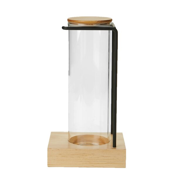 Glass Canister with Bamboo Wood Base & Steel Wire Rack Holder by Mind Reader
