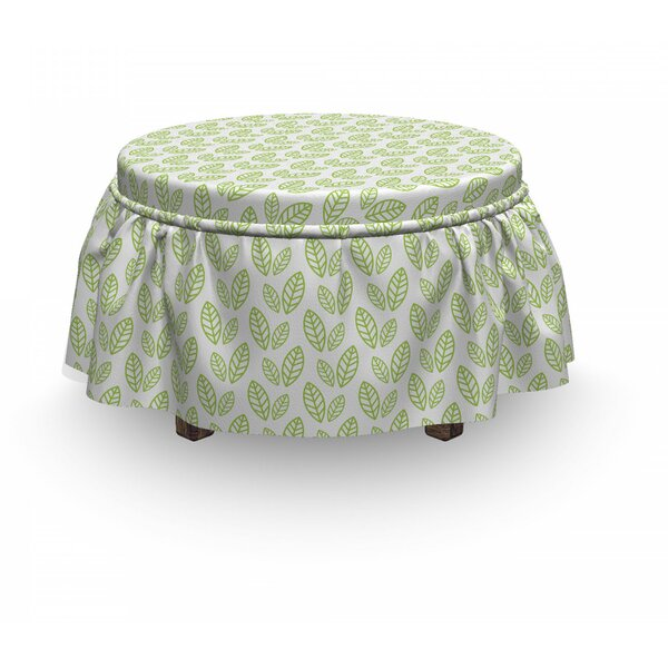 Leaf Abstract Simplistic 2 Piece Box Cushion Ottoman Slipcover Set By East Urban Home