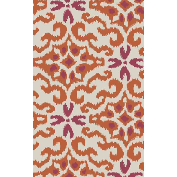 Wentworth Ikat/Suzani Hand Woven Wool Cherry/Ivory Area Rug by Bungalow Rose
