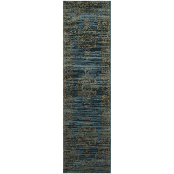Zennia Turquoise/Gold Area Rug by Bungalow Rose