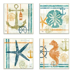 'Seahorse, Sand Dollar, Anchor And Starfish Beach' 4 Piece Graphic Art Print On Paper (Set of 4) by Beachcrest Home