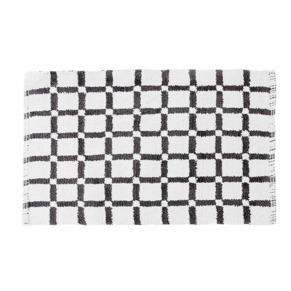 Grid Reversible Cotton Bath Mat by Linen Tablecloth