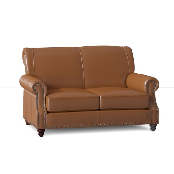 Best Choices Landry Genuine Leather 57 Rolled Arm Loveseat by Klaussner Furniture