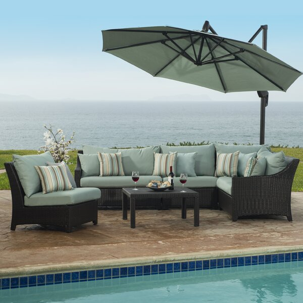 Northridge 6 Piece Rattan Sectional Seating Group with Cushions by Three Posts