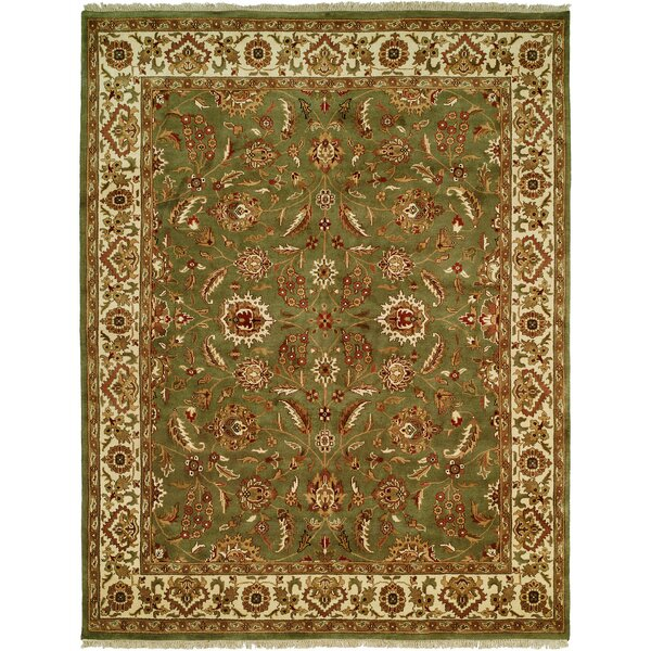 Bhagat Hand-Woven Green/Beige Area Rug by Meridian Rugmakers