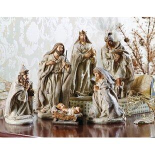 6 piece glittered nativity set - Christmas Nativity Scenes