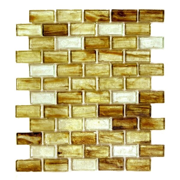 Classic Recycled 11.88 x 10.75 Glass Mosaic Tile in Brown Gold by Abolos