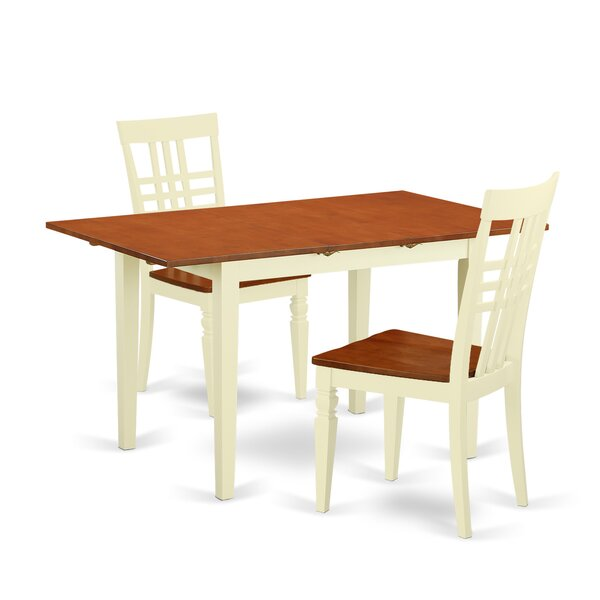 Balfor 3 Piece Extendable Solid Wood Dining Set by Andover Mills Andover Mills