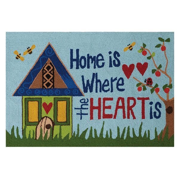 Home Is Where the Heart Is Hand-Woven Blue Area Rug by Painted Peace By Stephanie Burgess