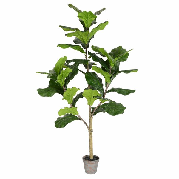 Artificial Potted Floor Foliage Fiddle Tree in Pot by Bay Isle Home