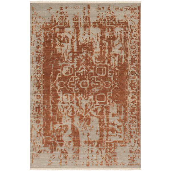 Rio Vista Distressed Hand Knotted Wool Khaki/Orange Area Rug by Bloomsbury Market