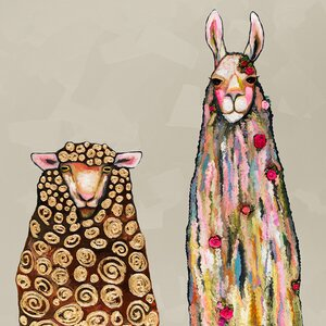 Llama Loves Sheep by Eli Halpin Painting Print on Wrapped Canvas by GreenBox Art