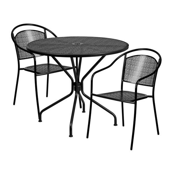 Romy Outdoor Steel 3 Piece Dining Set by Ebern Designs
