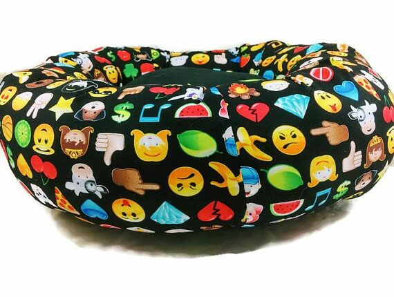 Emoticon Smile Round Bolster by East Urban Home
