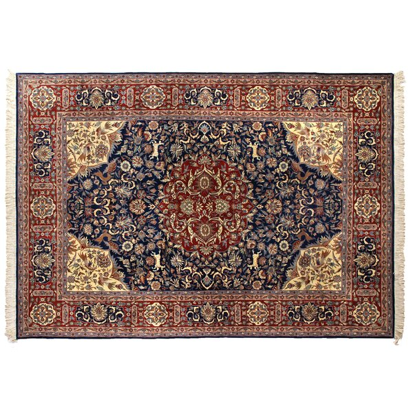 One-of-a-Kind Super Fine Hand-Woven Wool Navy Blue/Red Area Rug by Exquisite Rugs