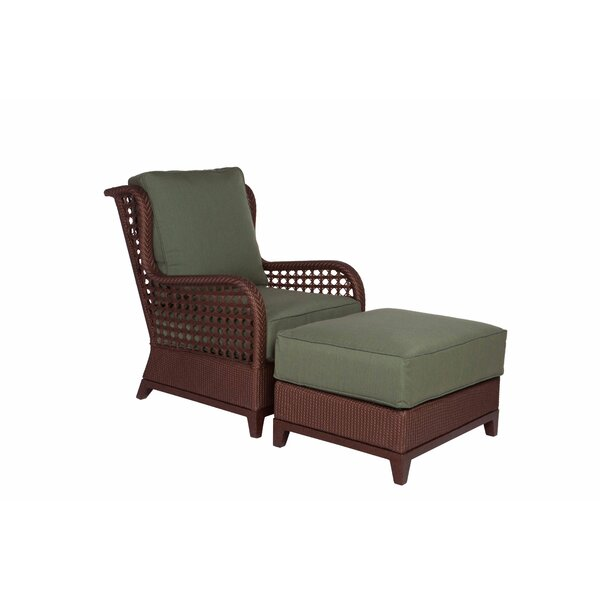 Aberdeen Patio Chair with Cushion and Ottoman by Acacia Home and Garden