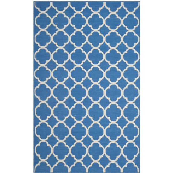 Desota Hand-Woven Blue/Ivory Area Rug by Breakwater Bay